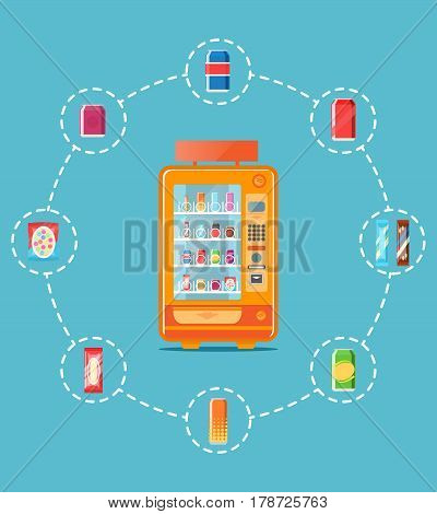 Automatic vending machine infographics vector illustration. Cold drink can, snack or chips packaging, fast food retail. Automatic seller front view with full shelves advertisement poster.