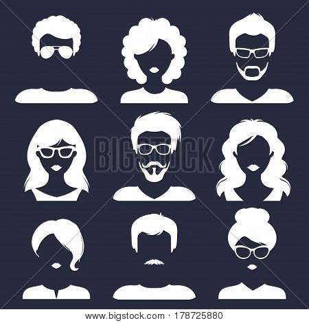 Vector set of different male and female icons in trendy flat style. People faces images collection