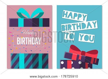 Happy birthday to you greeting card design set vector illustration. Birthday banner with wrapped present box in flat style. Party invitation or holiday event congratulation with colorful open gift box