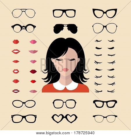 Big vector set of dress with different woman eyelashes, glasses, lips in trendy flat style. Female faces icon creator