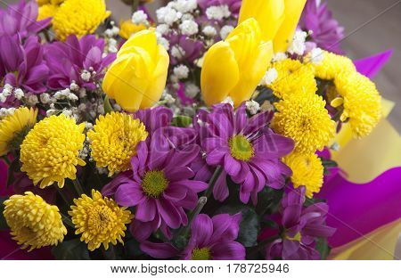 Beautiful bouquet of yellow and purple chrysanthemums with yellow tulips