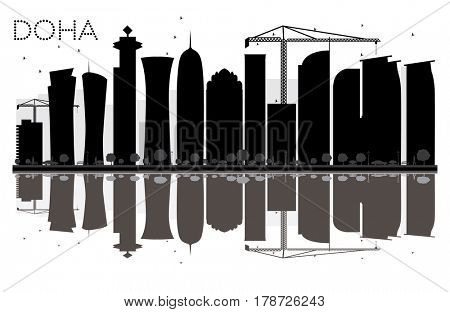 Doha City skyline black and white silhouette with reflections. Simple flat concept for tourism presentation, banner, placard or web site. Cityscape with landmarks.