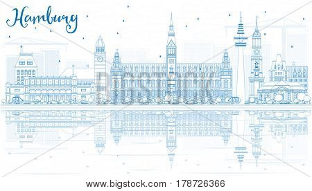Outline Hamburg Skyline with Blue Buildings and Reflections. Business Travel and Tourism Concept with Historic Architecture. Image for Presentation Banner Placard and Web Site.