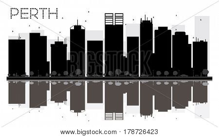Perth City skyline black and white silhouette with reflections. Simple flat concept for tourism presentation, banner, placard or web site. Cityscape with landmarks.