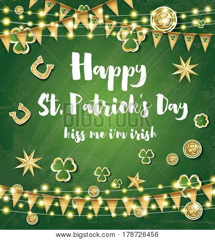 Saint Patrick's Day Background with Clover Leaves, Neon Lights and Golden Stars.