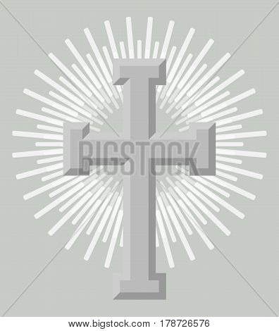 Silver holy cross icon isolated on grey background vector illustration. Christianity religion symbol in flat design.
