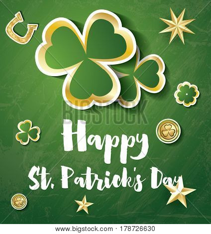 Saint Patrick's Day Background with Clover Leaves, Golden Stars and Coins.