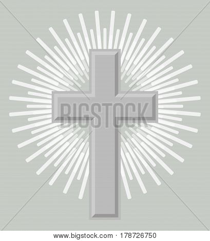 Silver orthodox crucifix icon isolated on grey background vector illustration. Christianity religion symbol in flat design.