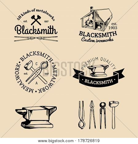 Vector set of hand sketched blacksmith logos. Vector farrier icons collection