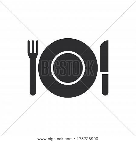 Plate Fork And Knife icon vector dishware solid flat sign pictogram isolated on white logo illustration