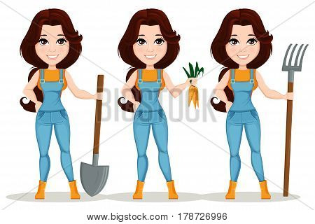 Farmer girl dressed in work jumpsuit. Set. Cute cartoon character. Beautiful farm girl holding a shovel holding forks and holding fresh carrots. Vector illustration. EPS10