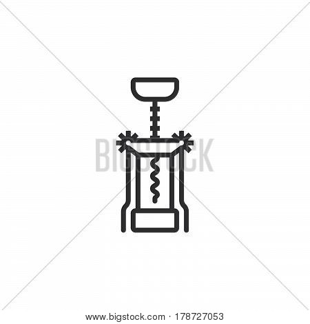Corkscrew line icon Bottle opener outline vector sign linear pictogram isolated on white. logo illustration