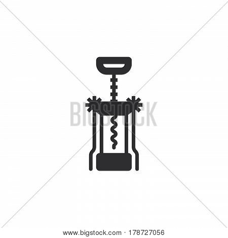 Corkscrew icon vector Bottle opener solid flat sign pictogram isolated on white logo illustration
