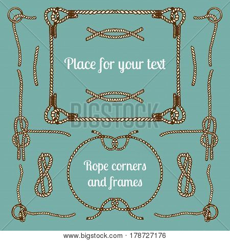 Big vector set of vintage ropes corners and frames. Hipster cables collection with places for your text