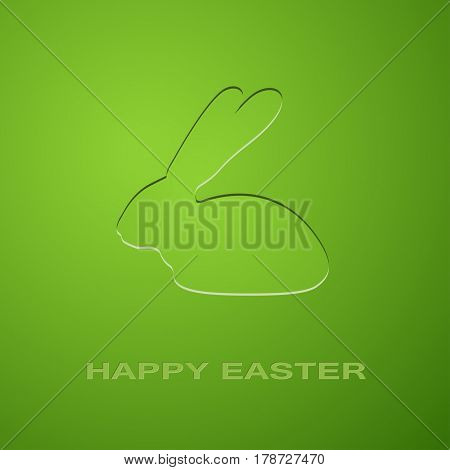 Easter Icon Rabbit on a green background. Illustration