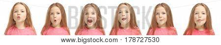 Speech training concept. Little girl doing exercises for correct pronunciation on white background