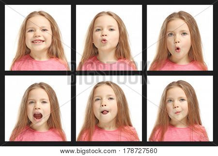 Speech training concept. Little girl doing exercises for correct pronunciation on white background