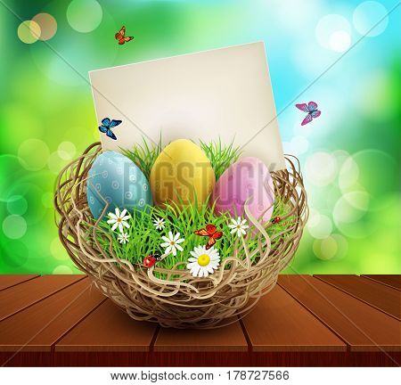 Easter background with basket and eggs, standing on a wooden table. Element for design