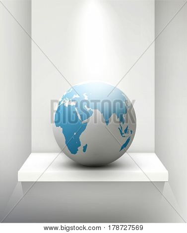 Globe standing on a shelf. Element for design and business