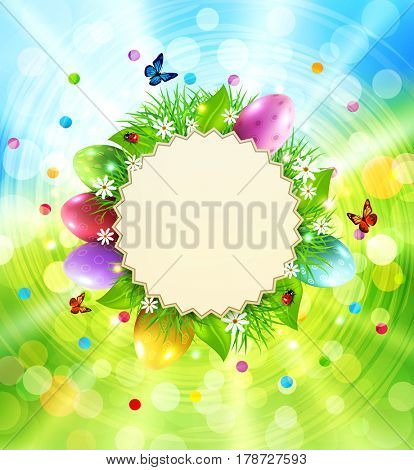 Easter background with a round card for text, grass and eggs