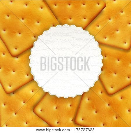 Background of crackers with round card for text