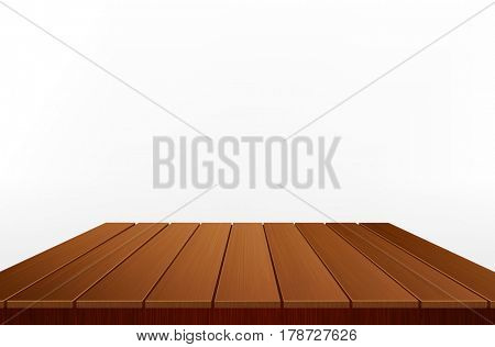 Wooden table isolated on white background. Element for design
