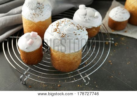 Traditional Russian Easter cakes on cooling rack