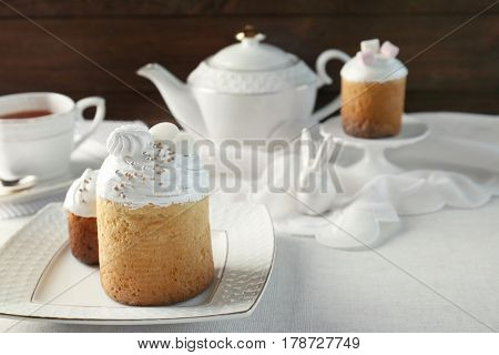 Traditional Russian Easter cake on beautiful plate