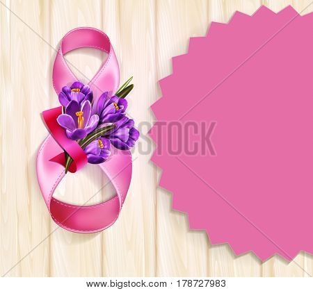 background to the 8th of March (Women's Day). Template design card. Number 8,  ribbons with a bouquet of blue crocus on a wooden background