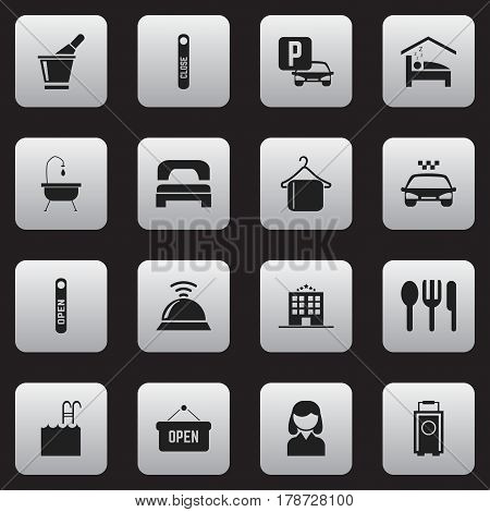 Set Of 16 Editable Motel Icons. Includes Symbols Such As Door Closed, Auto Stand, Opened Placard. Can Be Used For Web, Mobile, UI And Infographic Design.