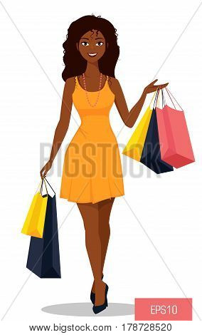 Beautiful African American woman with bags. Attractive cartoon girl in beautiful yellow dress on a shopping spree. Vector illustration