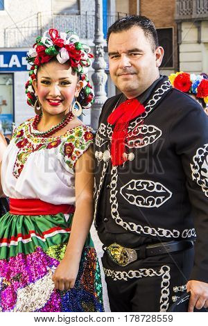QUARTU S.E., ITALY - July 18, 2015: 29 Sciampitta - International festival of folklore - Sardinia - the dance group parade fiesta Mexicana Monterrey, Mexico
