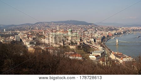 Panorama of Budapest city centre with dominant Buda Castle