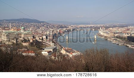 View of Budapest city centre with Buda Castle, Chain Bridge, Parliament building and Danube river