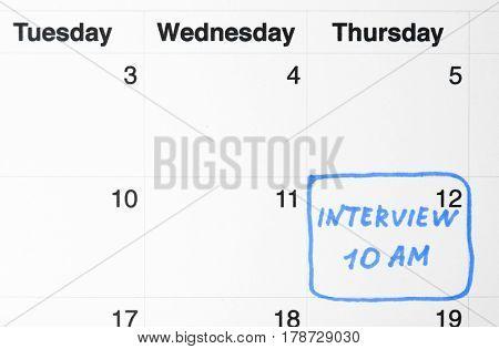Job interview date on calendar