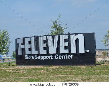 Dallas,USA,28th March 2017. The new 7-Eleven store support center campus sign facing LBJ Expressway in the new high demand  Cypress Waters Development. Seen here 26th March.