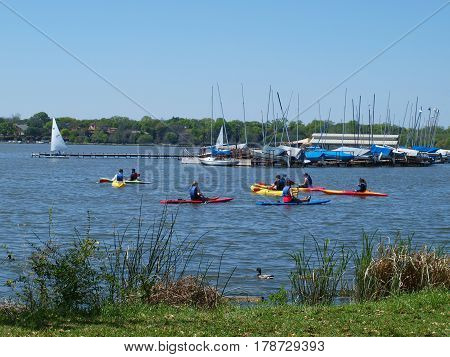 Dallas,USA,28th March 2017, The waters of White Rock Lake, the Crown Jewel of the Dallas Parks and Recreation System have become a beehive of activity now that the seventh season has opened for the White Rock Paddle Co rental center. Viewed here 26th Marc