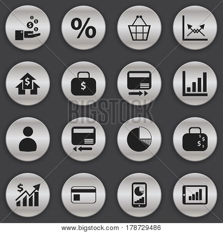 Set Of 16 Editable Statistic Icons. Includes Symbols Such As Phone Statistics, Bar Chart, Percent And More. Can Be Used For Web, Mobile, UI And Infographic Design.