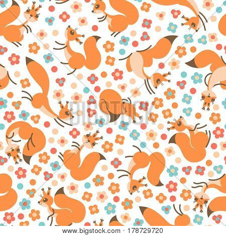 Little cute squirrels on flowers meadow. Seamless spring or summer pattern for gift wrapping, wallpaper, childrens room, clothing. Vector illustration
