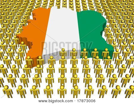 Ivory Coast map flag surrounded by many abstract people illustration