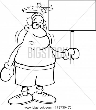 Black and white illustration of a dizzy boxer holding a sign.