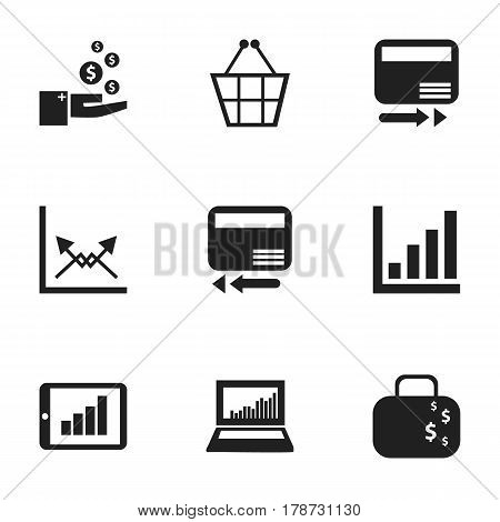 Set Of 9 Editable Statistic Icons. Includes Symbols Such As Credit Card, Cash Briefcase, Bar Chart And More. Can Be Used For Web, Mobile, UI And Infographic Design.