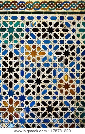 Andalusian tiled background at the Alcazar of Seville