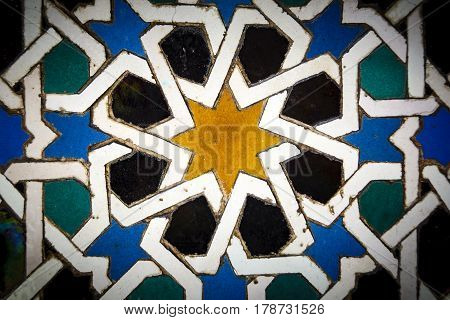 Moorish tiles in close up in Andalusia Spain