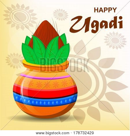 Happy Ugadi and Gudi Padwa Hindu New Year. Greeting card for holiday. Colored pot with coconut on abstract light background. Modern vector illustration
