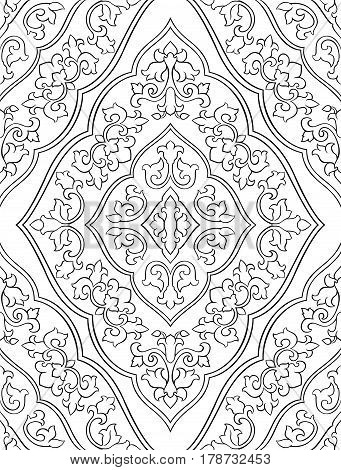 Oriental abstract ornament. Template for carpet textile and any surface. Seamless vector pattern of black contour on a white background.