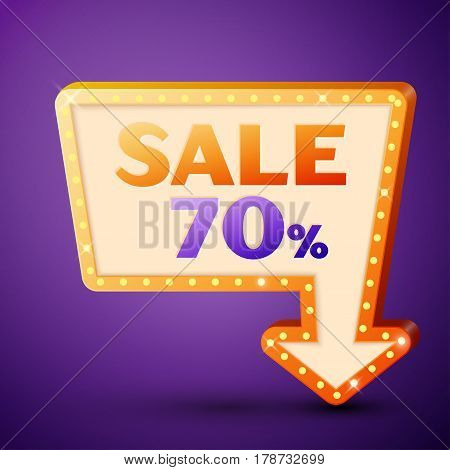 Retro billboard with shining lamps and arrow with inscription sale 70 percent discounts on purple background. Business banner, shopping promotion poster, bright signboard. Vector illustration