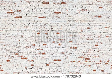 Abstract Rectangular White Texture. White Washed Old Brick Wall With Stained And Shabby Uneven Plaster. Painted White Grey Brickwall Background. Home House Room Interior Design.