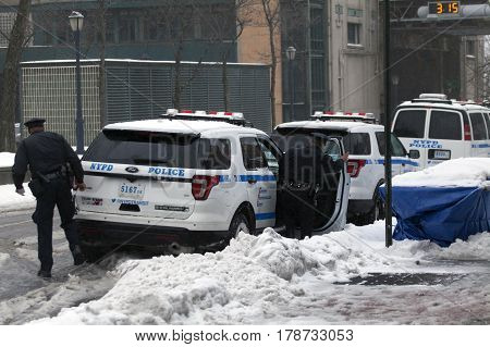 BRONX NEW YORK - MARCH 14: Police step out of vehicle. Taken March 14 2017 in New York.