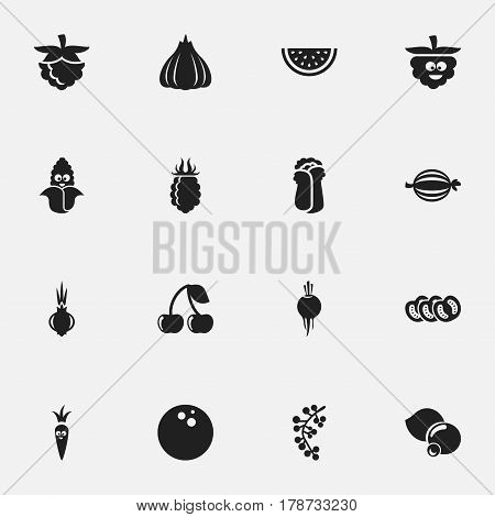 Set Of 16 Editable Cookware Icons. Includes Symbols Such As Bilberry, Onion, Muskmelon And More. Can Be Used For Web, Mobile, UI And Infographic Design.